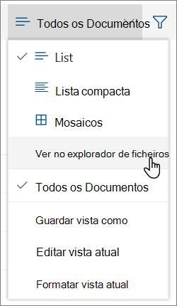 Todos os documentos menu com Open in File Explorer em destaque