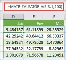 Função MATRIZALEATÓRIA com argumentos Mín, Máx e Decimal