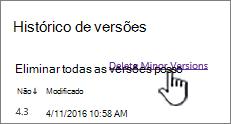 Caixa de diálogo versão com as versões secundárias eliminar realçado