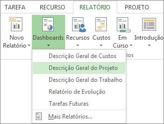 menu dashboard no separador relatório