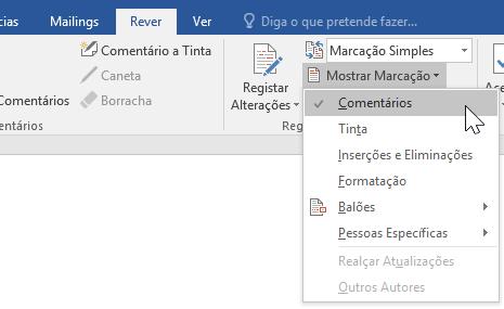 A apresentar as opções de Marcação no separador Rever