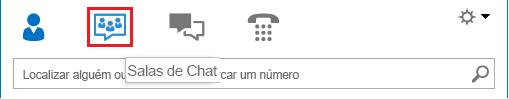 Captura de ecrã da secção de ícones na janela principal do Lync com a opção sala de chat selecionada