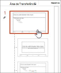 Modelo global de diapositivos selecionado a partir do painel de miniatura
