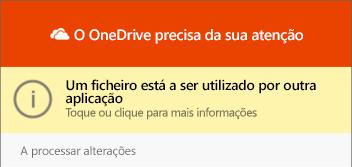 """Caixa de diálogo """"ficheiro a utilizar"""" do OneDrive"""
