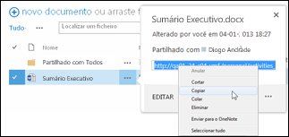 Um URL de um documento do SharePoint na chamada do documento