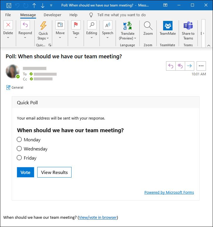 Sondagem Microsoft Forms numa mensagem de email do Outlook