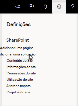 O menu Definições com Adicionar uma aplicação realçado