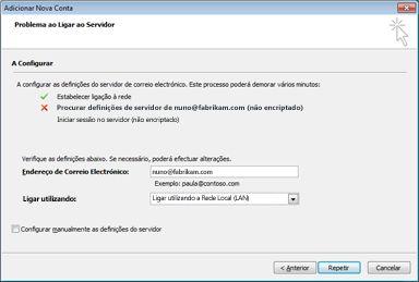 Caixa de diálogo Adicionar Nova Conta a indicar que a conta não pôde ser configurada