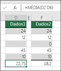 O Excel apresenta um erro quando uma fórmula refere células vazias