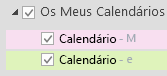 Os seus calendários estão listados em Os Meus Calendários. Selecione as caixas de verificação dos calendários que pretende ver.