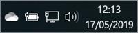 Ícone branco do OneDrive no tabuleiro do sistema