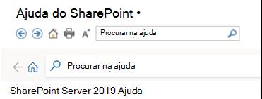 Cabeçalho do painel Ajuda do SharePoint 2019