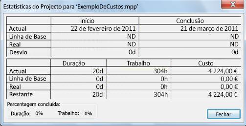 Caixa de diálogo Informação de Projecto
