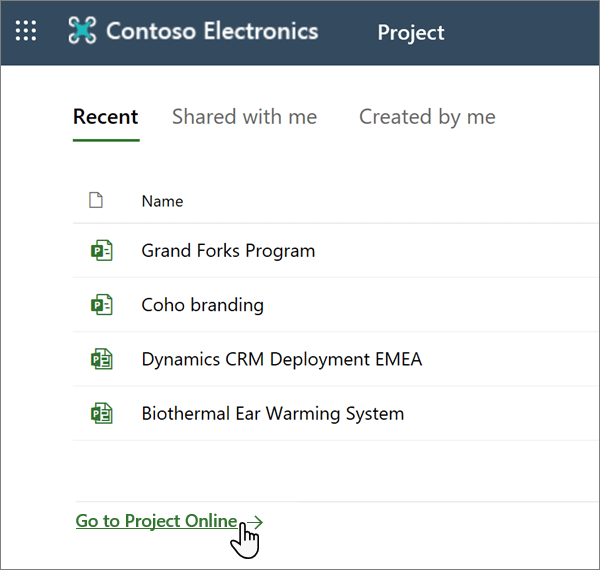 "A opção ""ir para o Project Web App"" no Project"