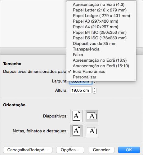 Caixa Configurar Página com as opções de tamanho do diapositivo