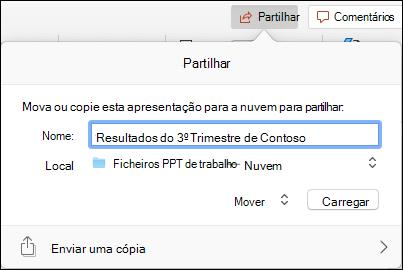 Caixa de diálogo oferecendo-se para fazer o upload da apresentação para o seu armazenamento na nuvem microsoft para uma partilha sem emenda.