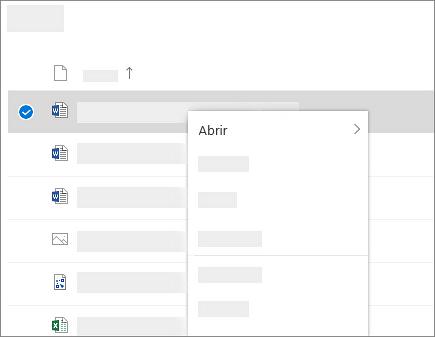 Captura de ecrã a mostrar o menu de atalho de um ficheiro selecionado