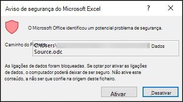 Aviso de segurança do Microsoft Excel-indica que o Excel identificou um potencial problema de segurança. Selecione Ativar se confiar na localização do ficheiro de origem, desAtive-o se não o fizer.