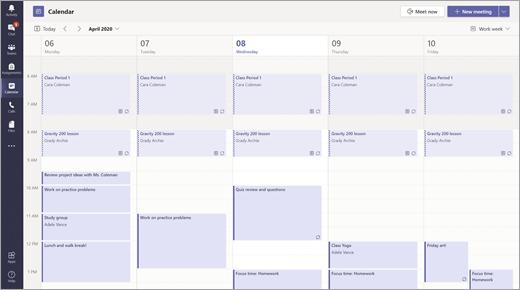 Vista de calendário no Teams
