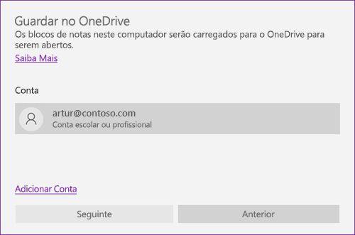 Captura de ecrã da mensagem Guardar no OneDrive, no OneNote