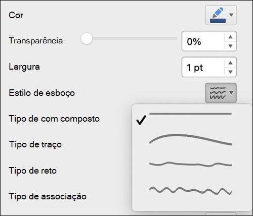 Opções de formatação de linha no Mac com o estilo Esboço selecionado