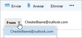 Uma captura de ecrã a mostrar o menu pendente do endereço De.