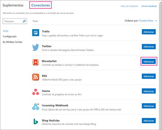 Uma captura de ecrã a mostrar os serviços ligados disponíveis no Outlook 2016