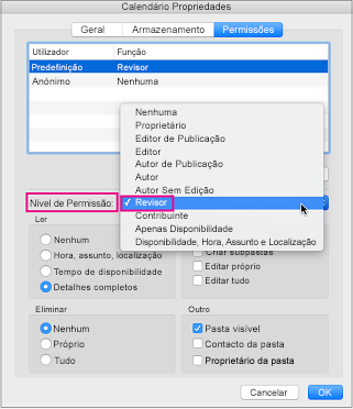 Caixa de diálogo de permissões de calendário com permissão de revisor realçada