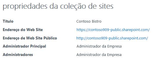 Propriedades da coleção de sites para o Web site público