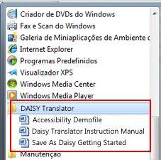 O menu Iniciar apresenta ficheiros Daisy após a instalação