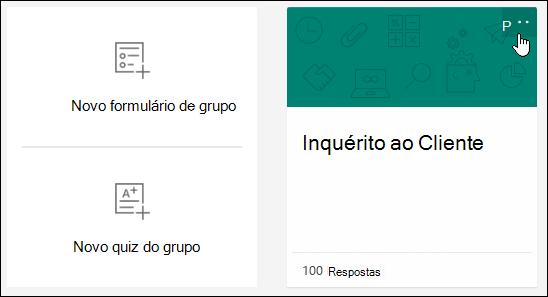 Mais opções de seleções num formulário em Formulários Microsoft
