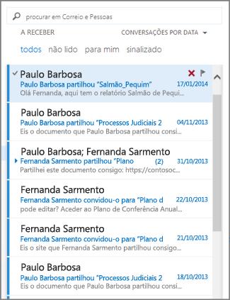 lista de mensagens do Outlook