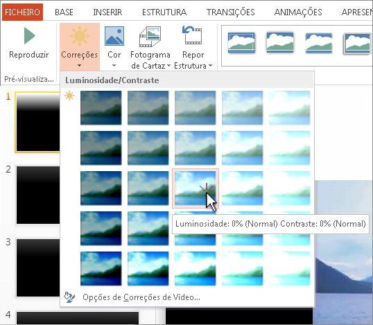 Ajustar a luminosidade e contraste de um vídeo