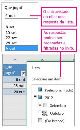 Escolher de uma lista de escolhas permite ordenar e filtrar mais facilmente