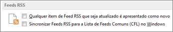 a secção de Feeds RSS da caixa de diálogo Opções