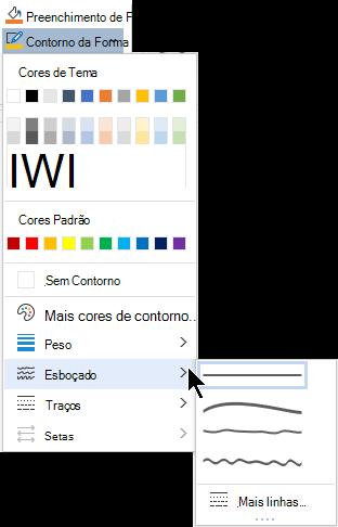 As opções esboçadas no menu Shape Outline.