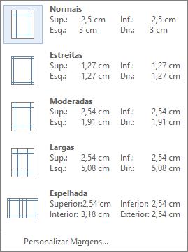 No separador Esquema, mostra as opções de margens,