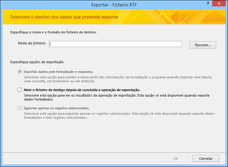 Selecione um destino e as opções de exportação na caixa de diálogo Exportar – Ficheiro RTF.