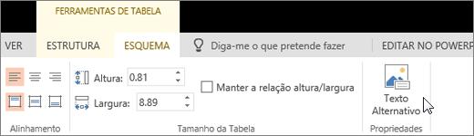 Captura de ecrã a mostrar o separador Esquema das Ferramentas de Tabela com o cursor a apontar para a opção Texto Alternativo.