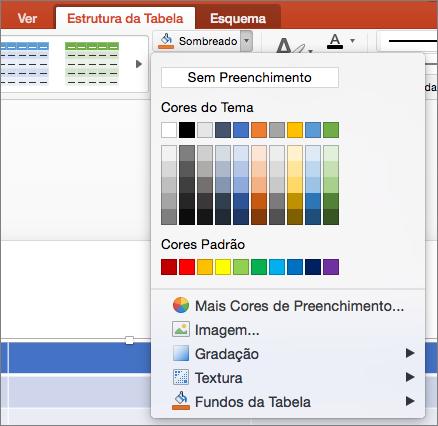 O screenshot mostra o separador Design de Mesa onde a seta de sombreamento é selecionada para mostrar opções disponíveis, incluindo No Fill, Theme Colors, Standard Colors, More Fill Colors, Picture, Gradient, Texture e Table Background.