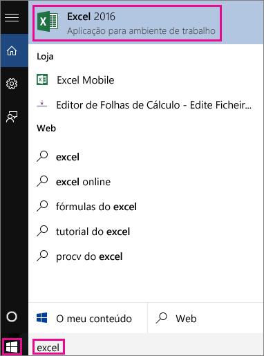Procure aplicações ou na Web no Windows 10