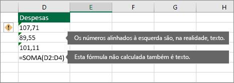 Células com números armazenados como texto com triângulos verdes