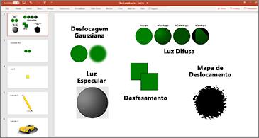 Diapositivo com exemplos de filtros SVG