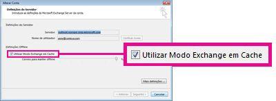 Caixa de verificação Utilizar Modo Exchange em Cache na caixa de diálogo Alterar Conta