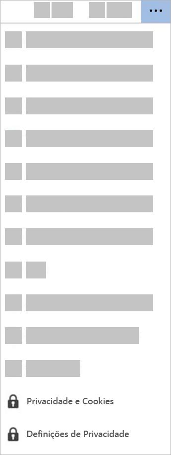Captura de ecrã do botão Definições de Privacidade