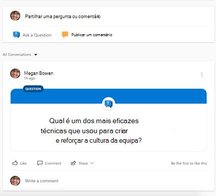 Screenshot mostrando escolher o tipo de conversação Yammer