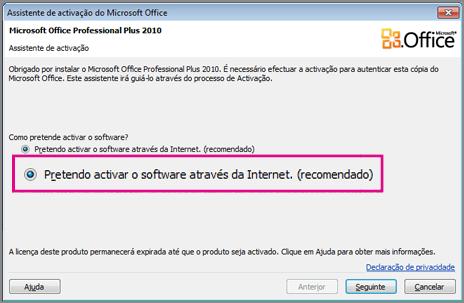 Ativar o software através da Internet