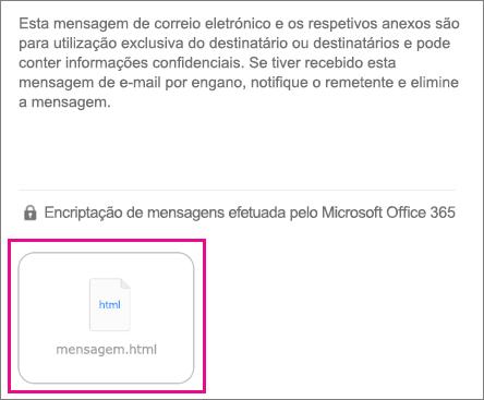 Visualizador da OME para 1 da aplicação de correio do iOS
