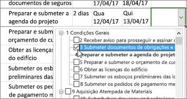 Plano de projeto com um menu pendente que contém tarefas