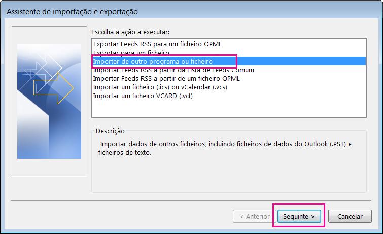 Selecione a importação de e-mail de outro programa ou ficheiro